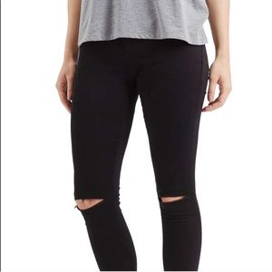TOPSHOP MOTO Leigh Black Ripped Jeans Pants